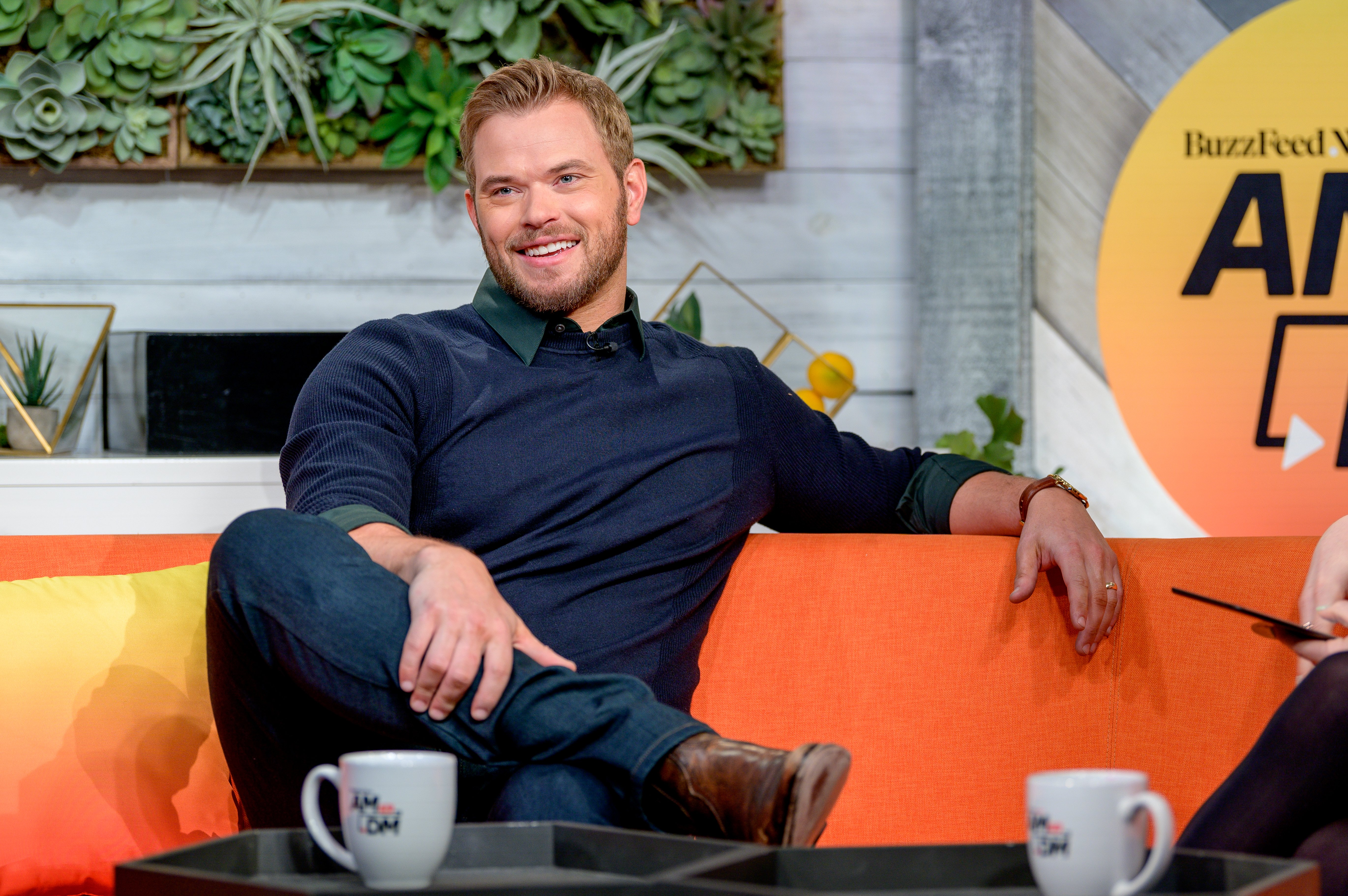 """Kellan Lutz discusses """"FBI: Most Wanted"""" as he visits BuzzFeed's """"AM To DM"""" on January 07, 2020 in New York City 