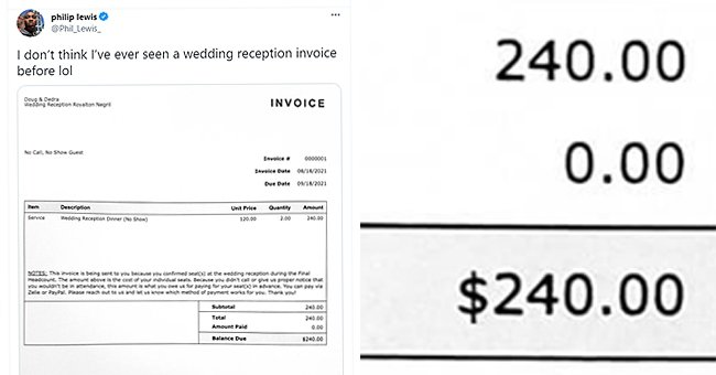 The $240 invoice a newlywed couple sent to guests who were no-shows at their wedding   Photo: Twitter/Phil_Lewis_