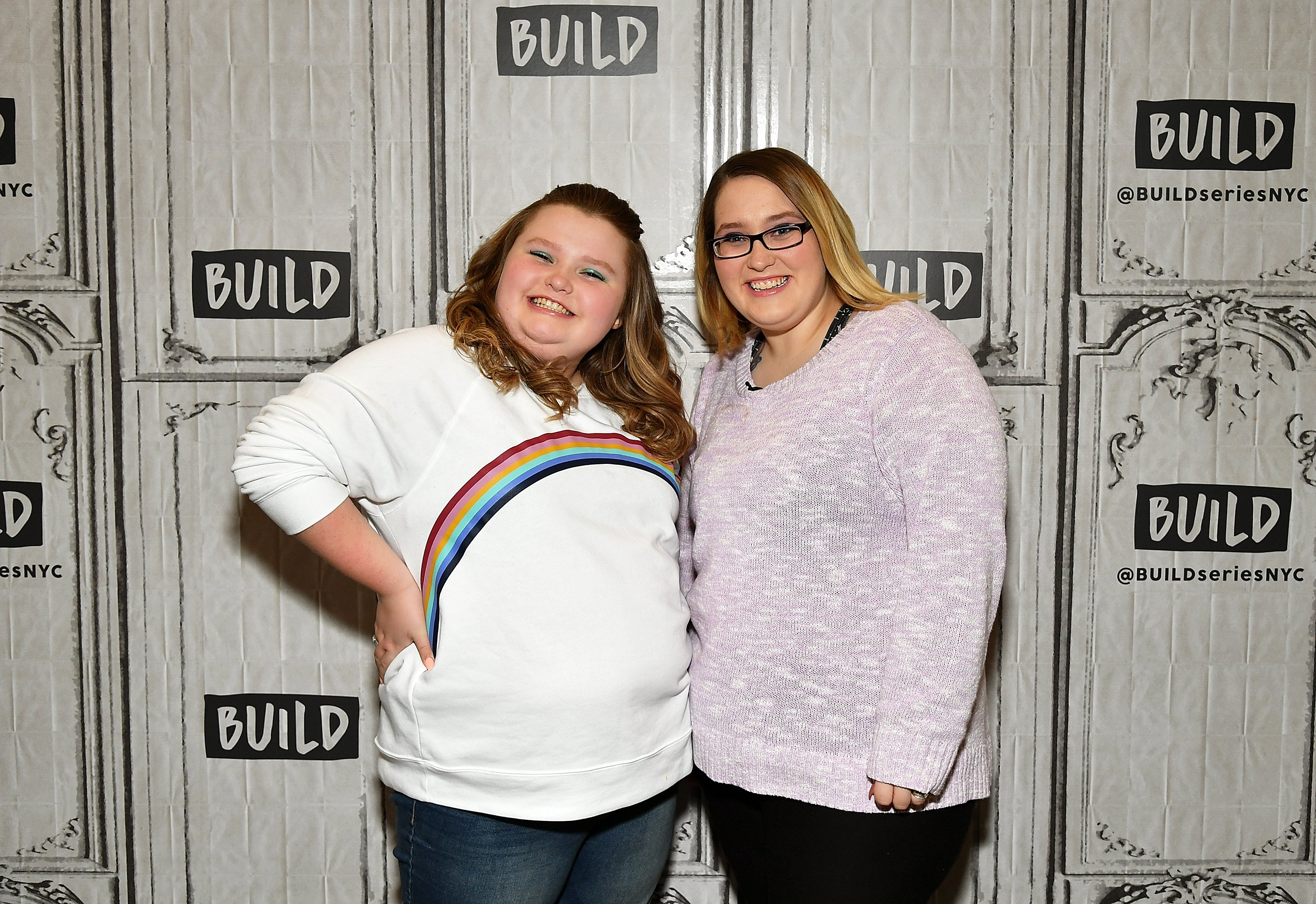 """Alana """"Honey Boo Boo"""" Thompson (L) and Lauryn """"Pumpkin"""" Shannon from TLC's reality TV series """"Here Comes Honey Boo Boo"""" attend Build Brunch at Build Studio on March 14, 2019 in New York City.   Source: Getty Images"""