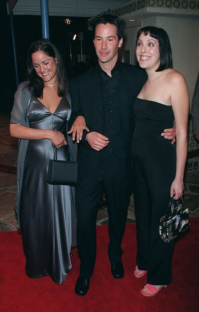 """Keanu Reeves with his sisters Patricia Reeves and Karina Miller at """"The Matrix"""" premiere in 1999