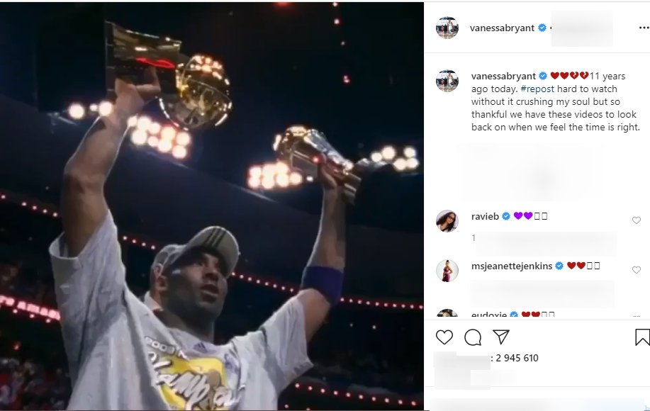 Vanessa Bryant shared a video of Kobe Bryant and his daughter Giana Bryant at the 2009 NBA Championship | Source: Instagram.com/vanessabryant