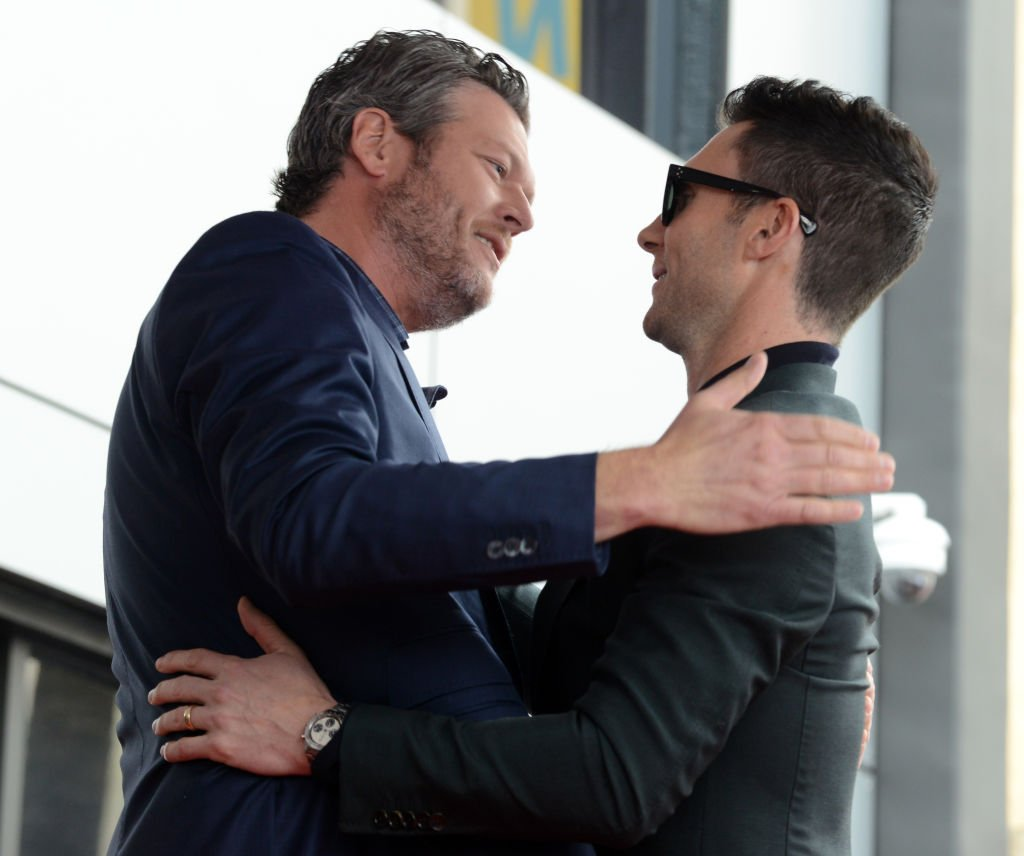 Blake Shelton and Adam Levin at the Adam Levine Star On The Hollywood Walk Of Fame Ceremoney on February 10, 2017 | Photo: GettyImages