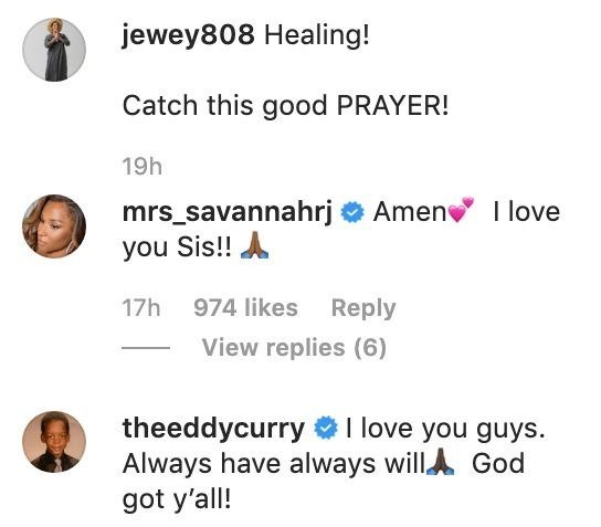 Screenshot showing LeBron James' wife, Savannah's comments on Jewel Smith's post | Photo: Instagram/jewey808