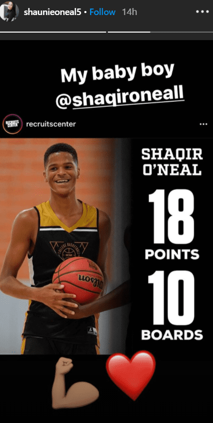 An athletic photo of Shaqir showing his game's stats. | Photo: Instagram/shaunieoneal5