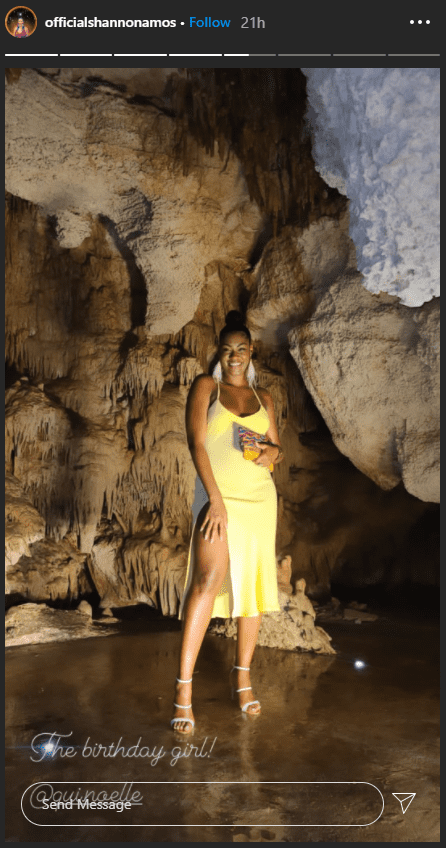Quiera Noelle posing by stalactites and rock formations.   Photo: instagram.com/officialshannonamos