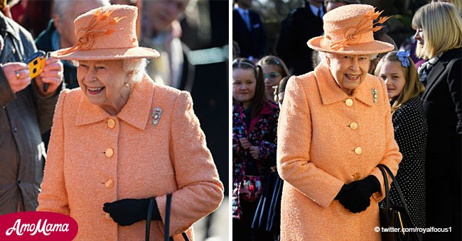Queen attends church in chic peach coat as she gets ready to celebrate 67 years on the throne