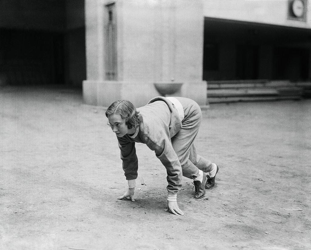 Betty Robinson was pictured during one of her now daily workouts in the gymnasium at Northwestern University, where she was a co-ed on November 2, 1932    Photo: Getty Images