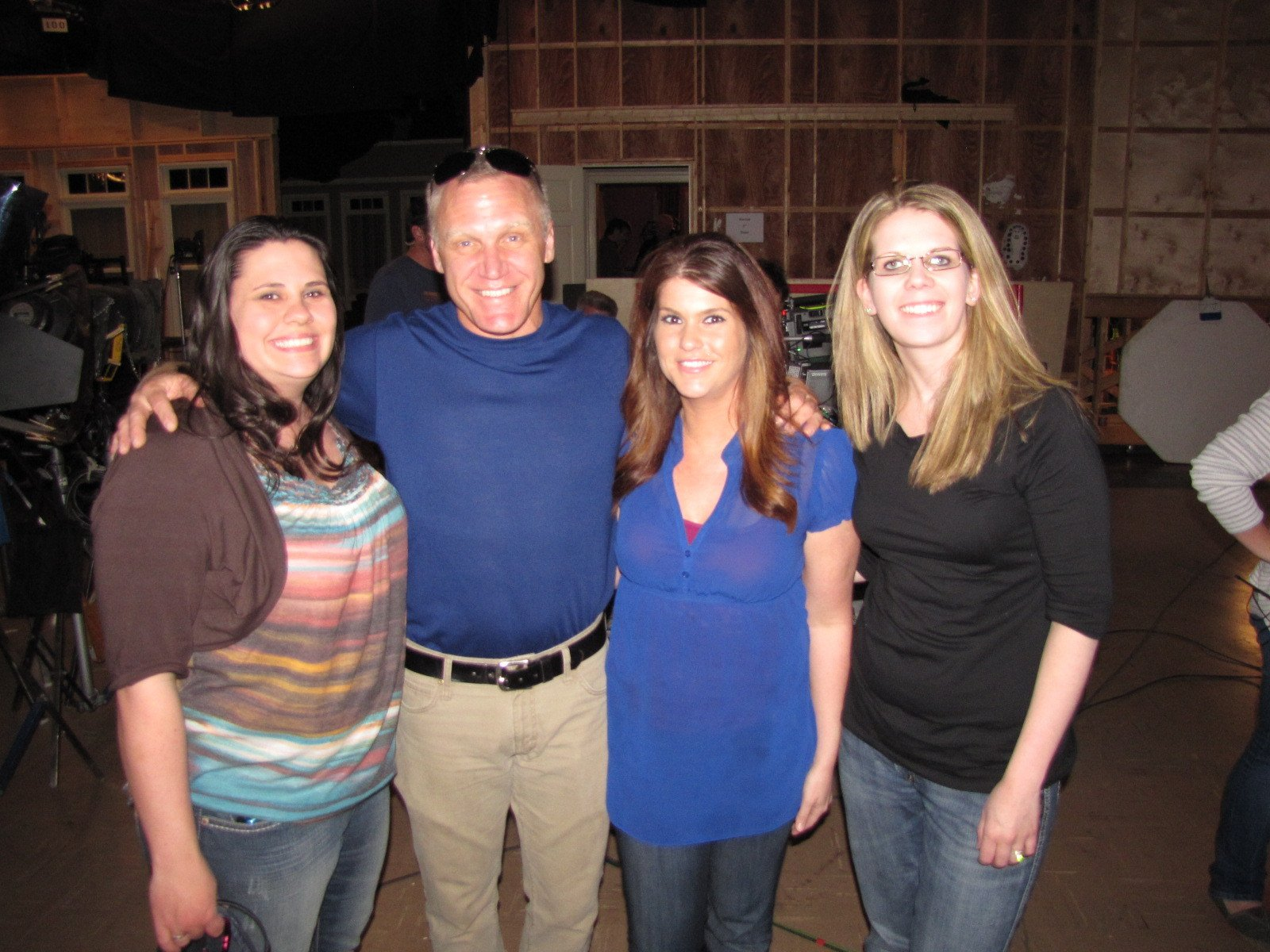 """Andrea Curely, Samantha Koktan and Tammy Estes pose with Terry Serpico during a visit to """"Army Wives"""" set in Charleston, S.C., on  February 24, 2012. 