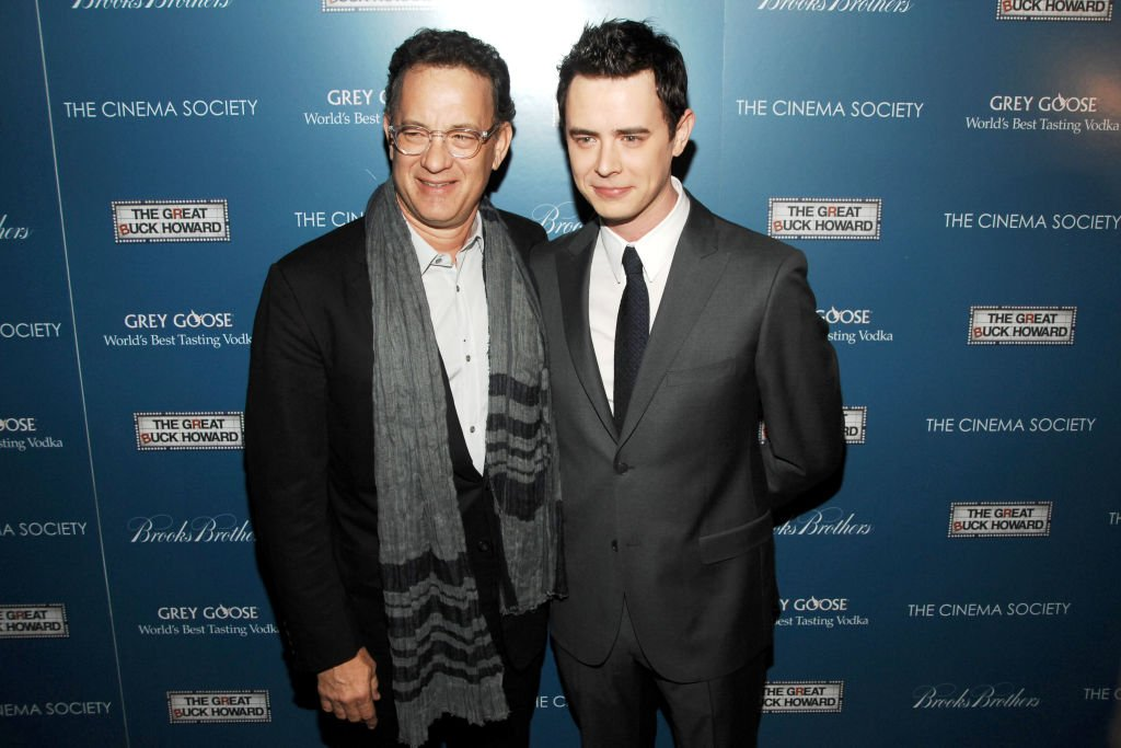 """Tom Hanks and Colin Hanks pictured at a screening of """"The Great Buck Howard"""" at Tribeca Grand Hotel, 2009, New York City. 