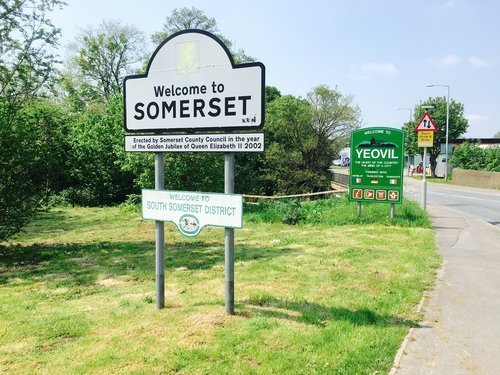 Welcome sign to Yeovil, Somerset, England. | Source: Shutterstock.