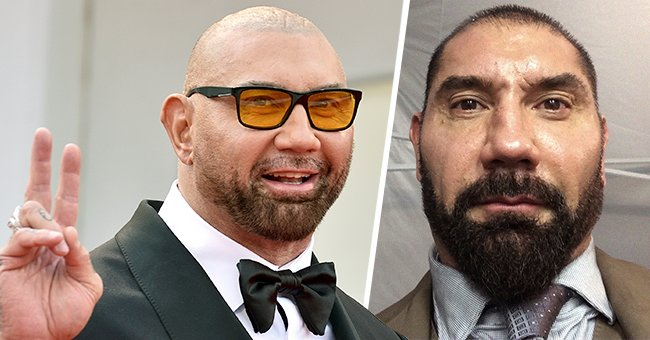 Dave Bautista at the 78th Venice International Film Festival, 2021 (left); a selfie he shared on Twitter (right).   Photo: Getty Images   twitter.com/DaveBautista