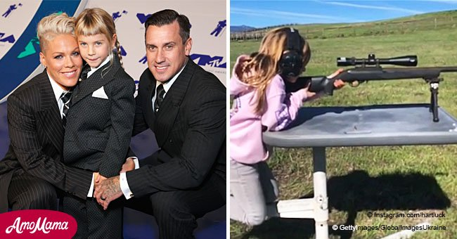 Pink's husband Carey Hart is under fire after filming daughter Willow, 7, shooting a rifle