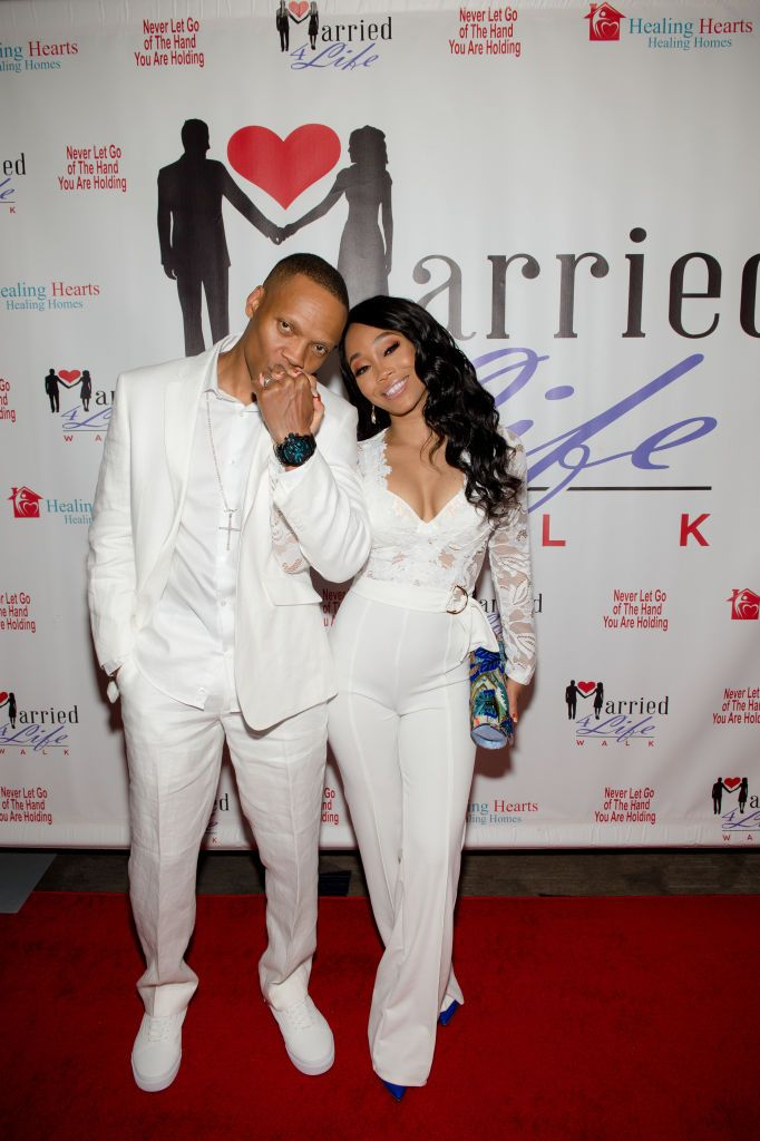 Ronnie DeVoe and his wife Shamari DeVoe arrive at the 3rd Annual Married 4 Life Couples event on April 27, 2019, in Georgia   Source: Getty Images