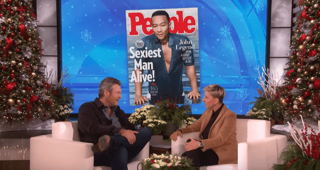 """Blake Shelton talks to Ellen DeGeneres about his Grammy nomination and jokes about John Legend not being the """"Sexiest Man Alive."""" 