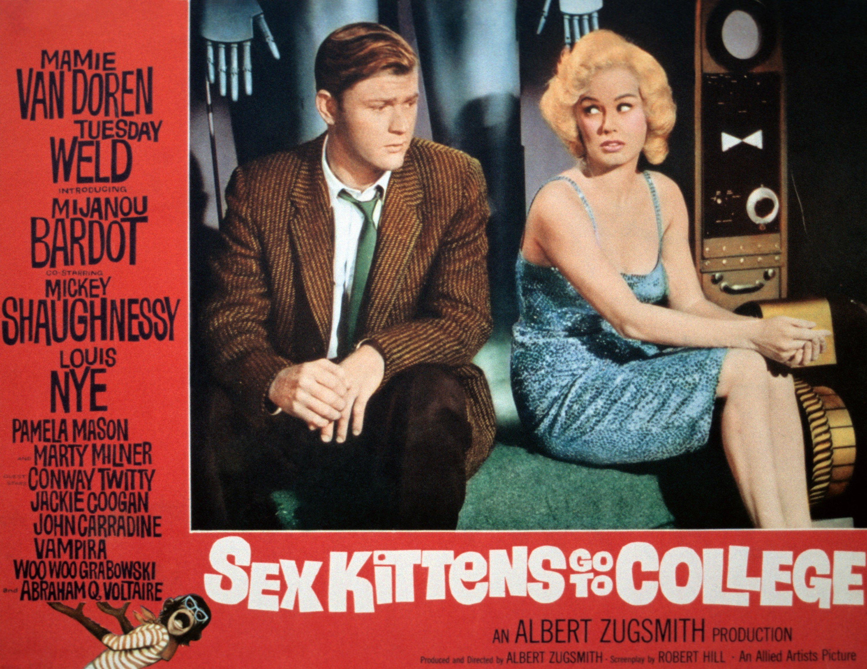 """Martin Milner and Mamie Van Doren on the lobbycard for """"Sex Kittens Go To College"""", a film Nancy Bacon starred in, 1960 