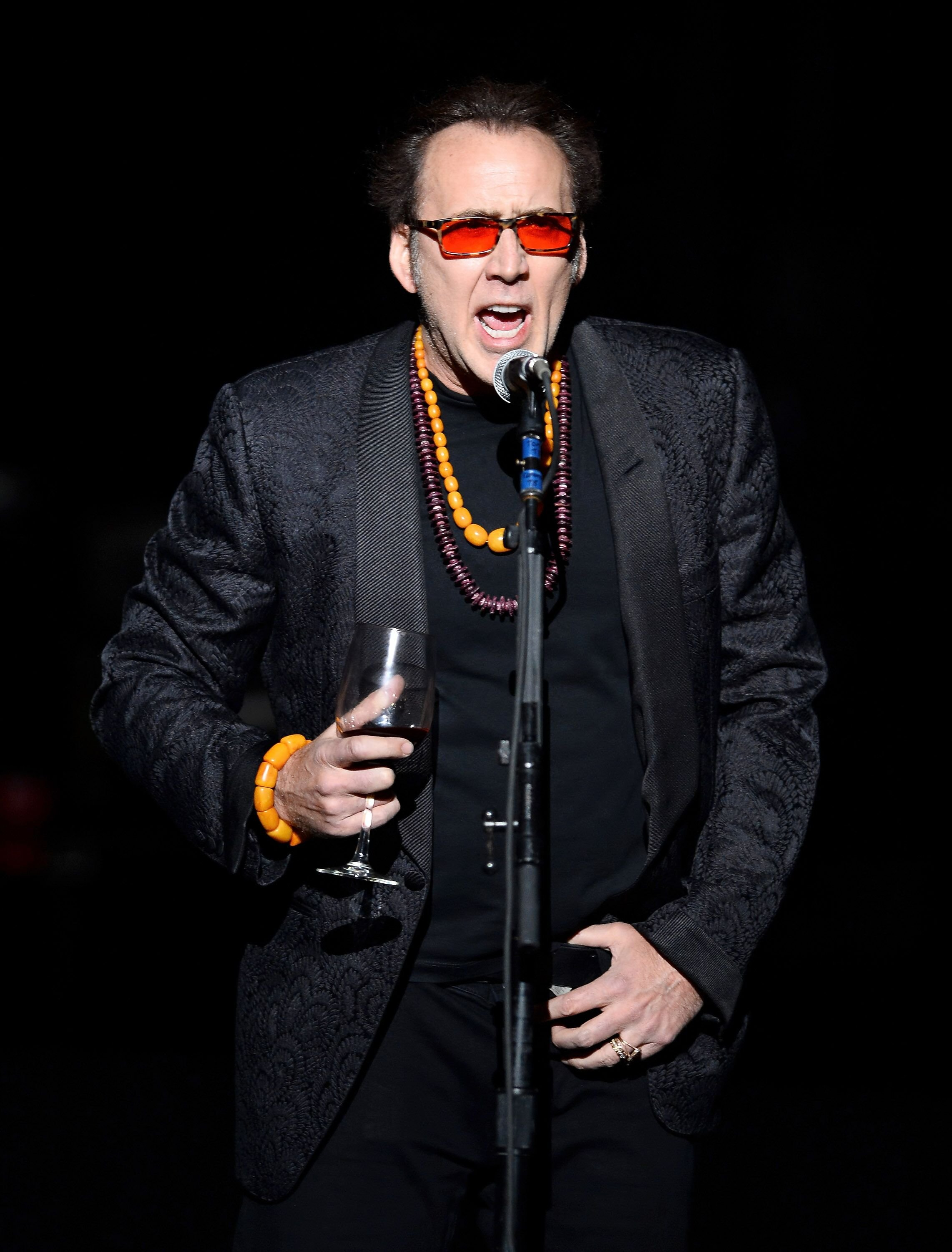 Nicolas Cage introduces Guns N' Roses at The Joint inside the Hard Rock Hotel & Casino during the opening night of the band's second residency. | Source: Getty Images