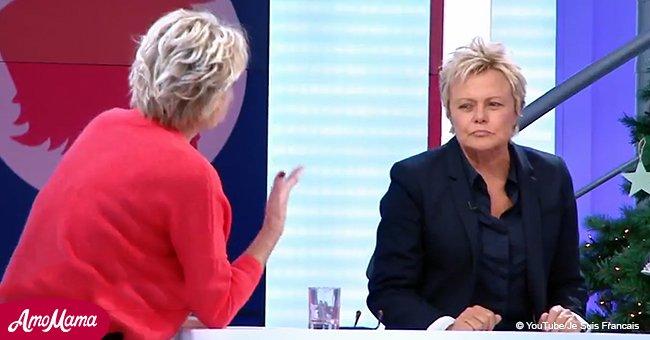 Muriel Robin, contrariée d'être constamment interrompue par Sophie Davant, répond vivement