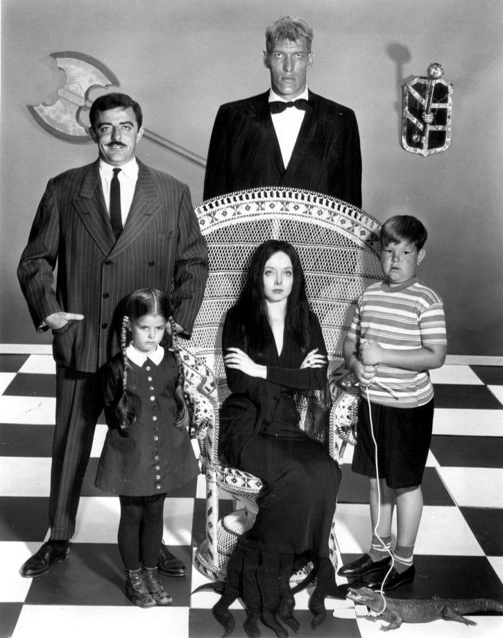 "Members of the cast of ""The Addams Family"" including John Astin and Carolyn Jones circa 1964 