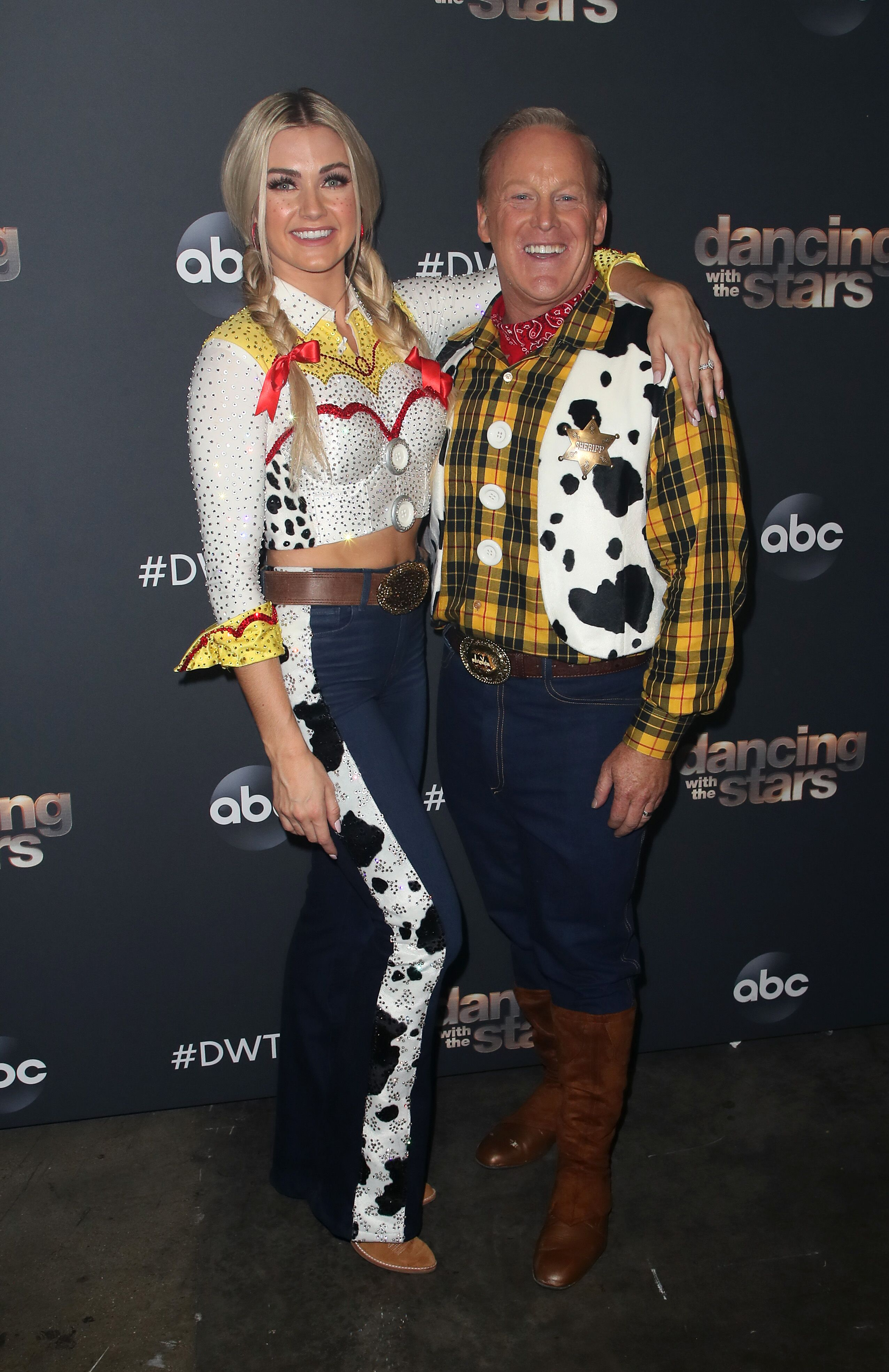 """Lindsay Arnold and Sean Spicer pose at """"Dancing with the Stars"""" Season 28 at CBS Television City on October 14, 2019 in Los Angeles, California 