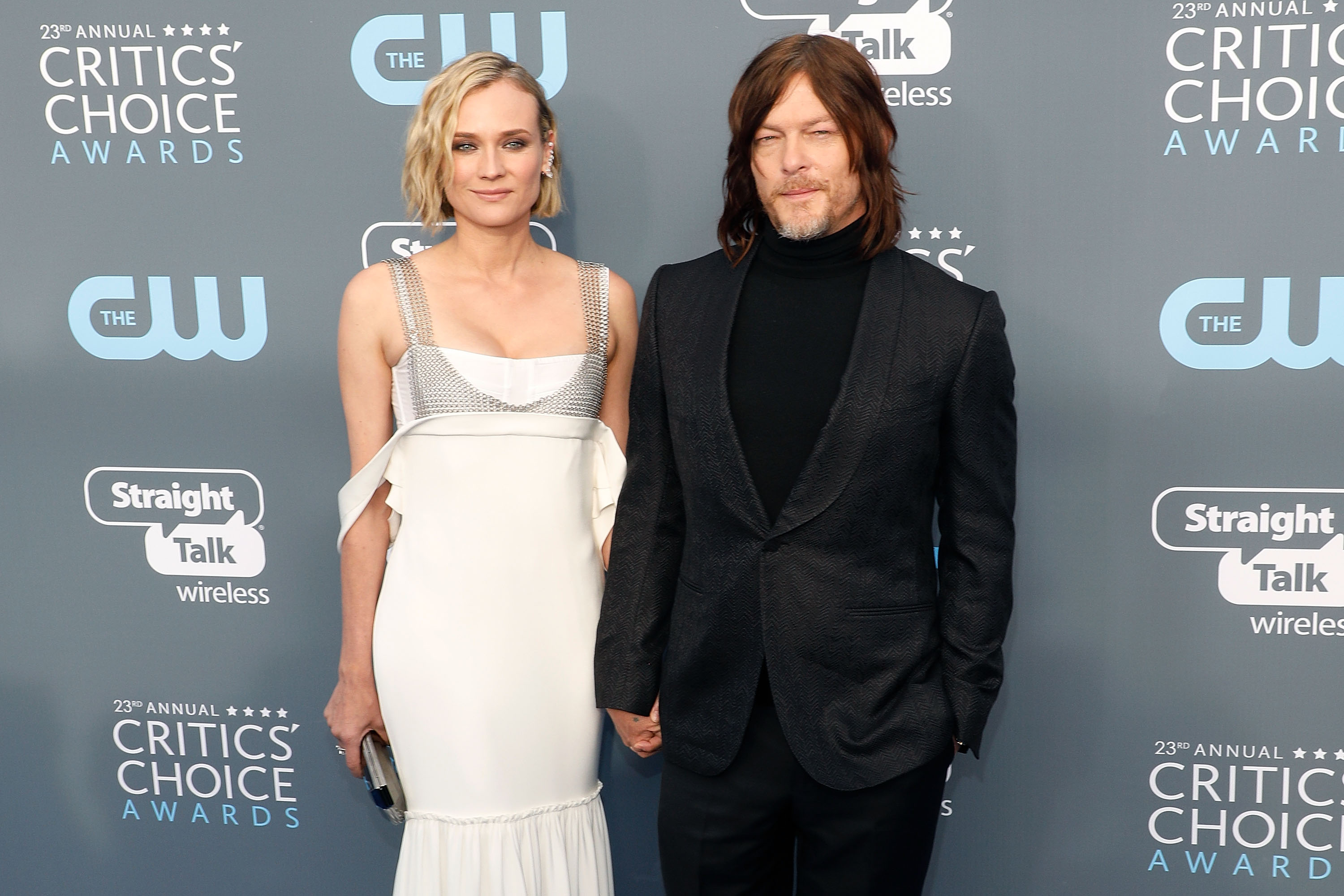 Norman Reedus and Diane Kruger attend the 23rd annual Critics' Choice Awards at the Barker Hangar on January 11, 2018, in Santa Monica, California.   Photo: Getty Images
