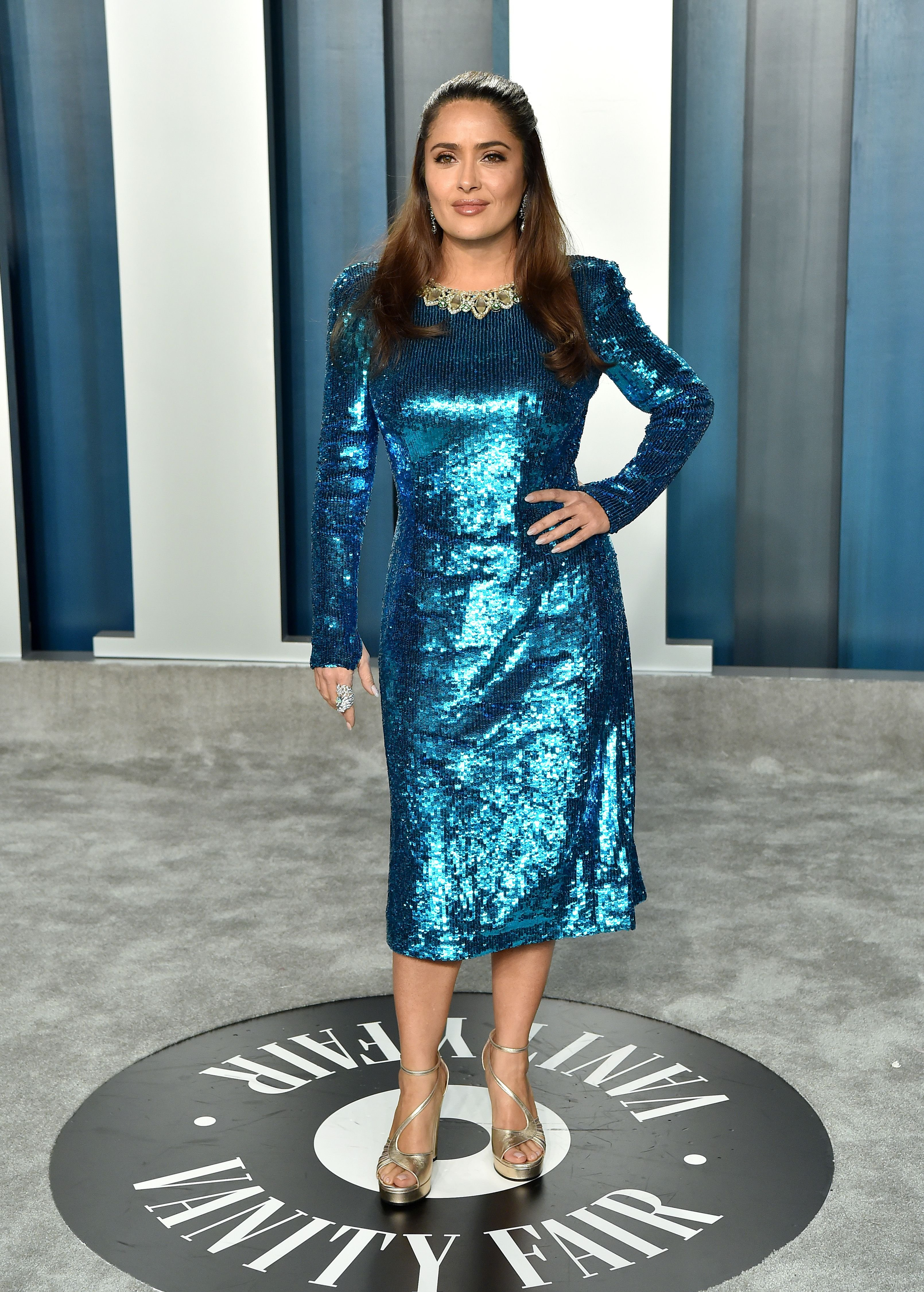Salma Hayek at the 2020 Vanity Fair Oscar Party at Wallis Annenberg Center for the Performing Arts on February 09, 2020 | Photo: Getty Images