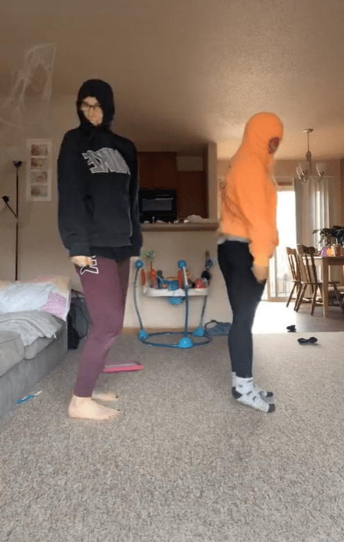"""Brianna and her friend attempting a popular dance challenge to the song """"Fergalicious"""" by Fergie. 