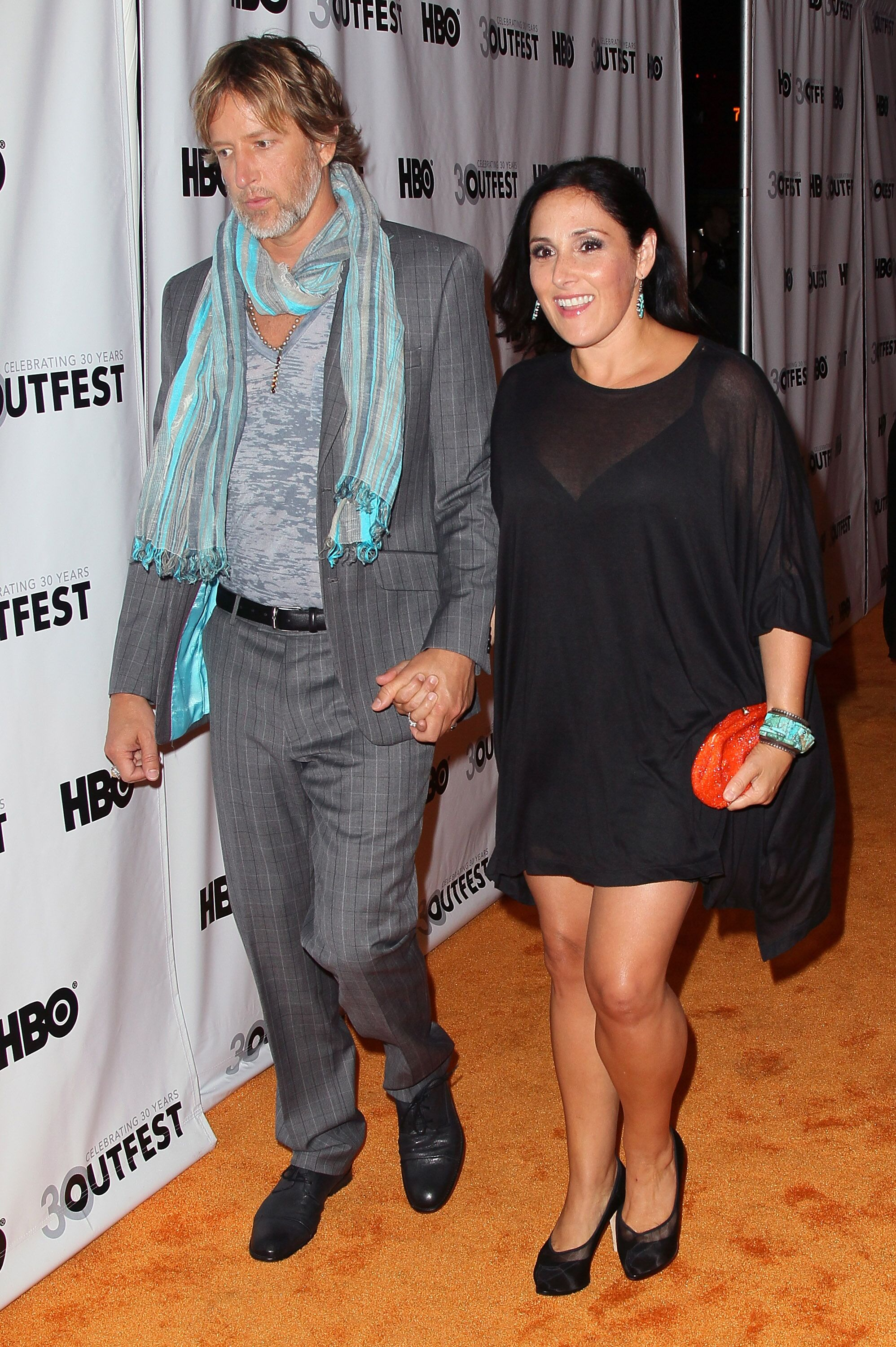 """Ricki Lake (R) and husband Christian Evans attend the 2012 Outfest opening night gala screening of """"VITO"""" at the Orpheum Theatre on July 12, 2012 in Los Angeles, California. 