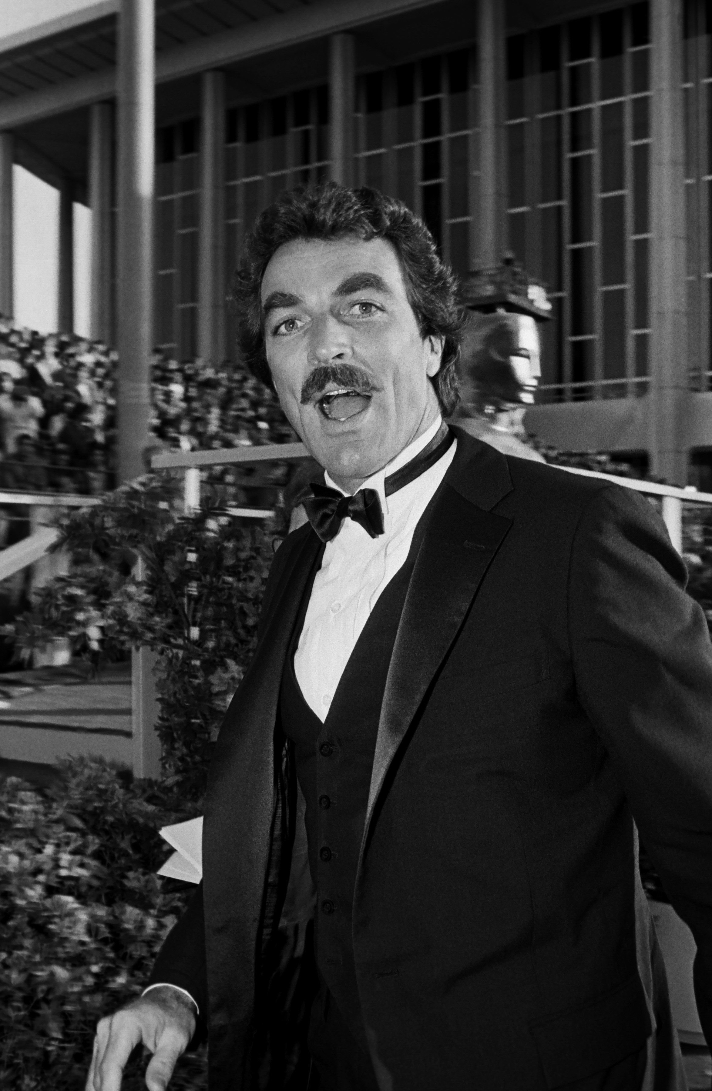 Emmy Award-winning actor, Tom Selleck,on the red carpet during the 1983 Academy Awards | Source: Getty Images