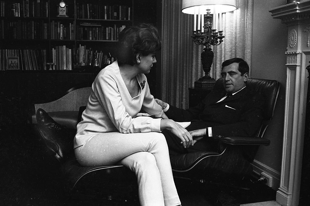 American broadcast journalist Barbara Walters sits at home with her husband, businessman and theatre producer Lee Guber (1920 - 1988), New York, 1966.   Source: Getty Images