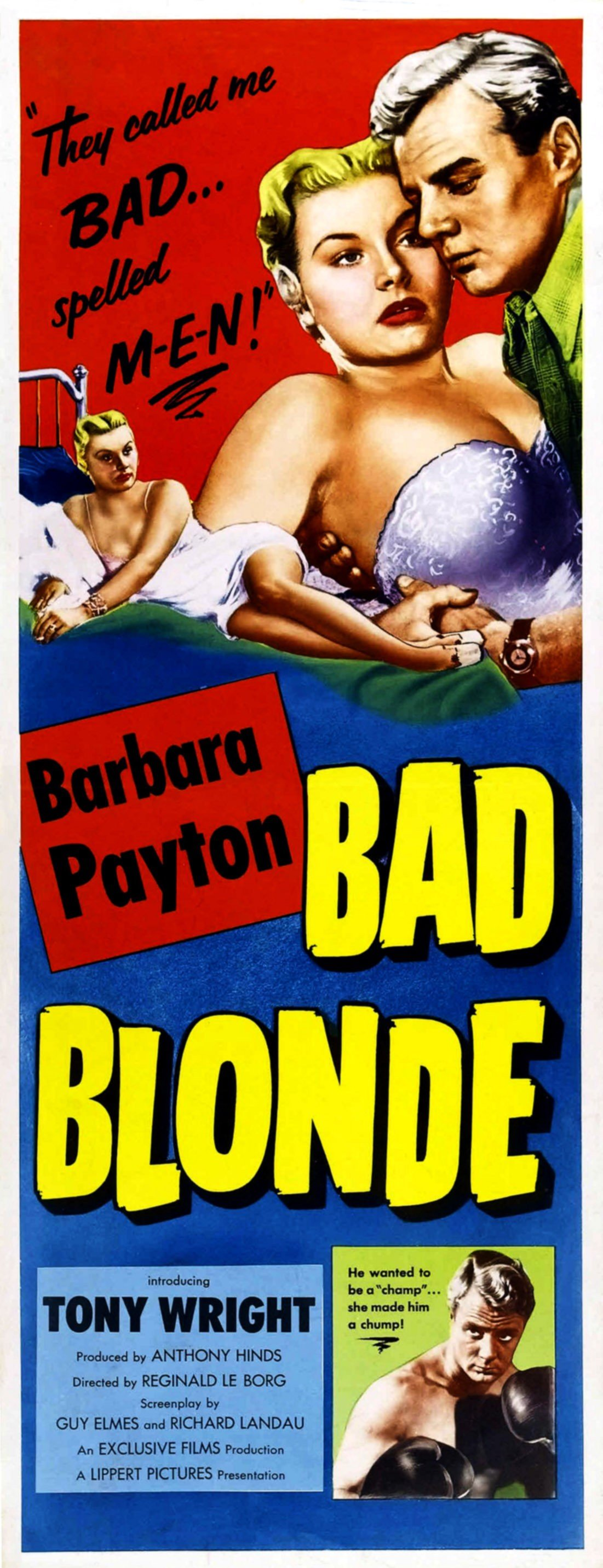 """Movie poster for the movie """"Bad Blonde"""" in which Barbara Payton had a starring role, 1953 