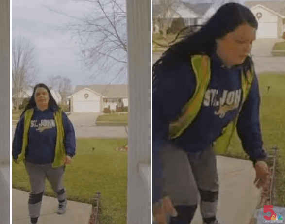 Alyssa George being caught on camera stealing a package from a front porch | Photo: KSDK News