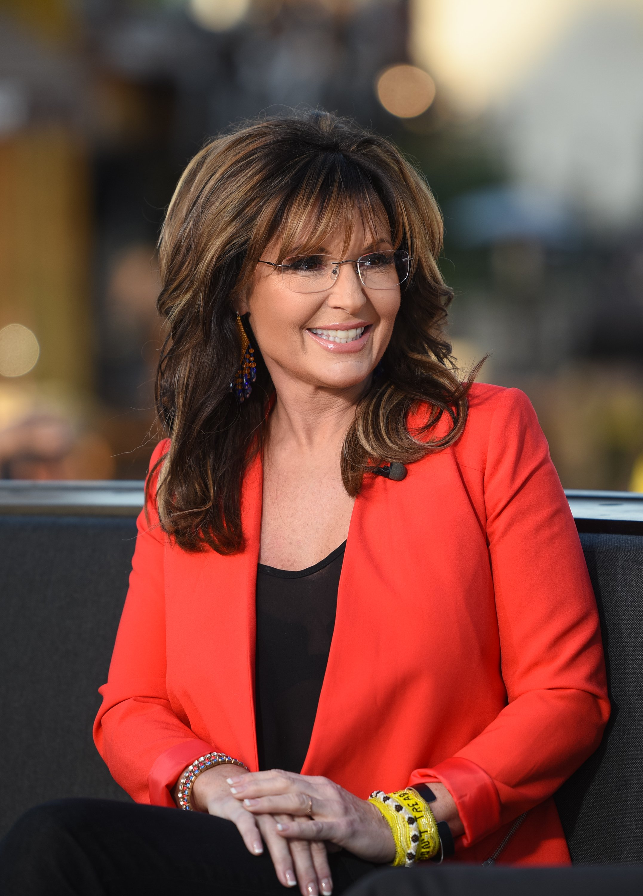 "Sarah Palin pictured at ""Extra"" at Universal Studios Hollywood, 2015, California. 