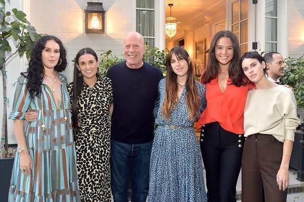 Rumer Willis, Demi Moore, Bruce Willis, Scout Willis, Emma Heming Willis and Tallulah Willis attend Demi Moore's 'Inside Out' Book Party on September 23, 2019 in Los Angeles, California | Photo: Getty Images