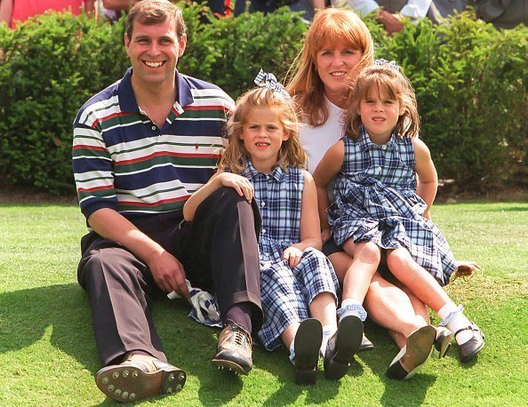 Prince Andrew,The Duke of York and Sarah, The Duchess of York, with daughters, Princess Beatrice, and Princess Eugenie attend the Charity Golf Tournament, at Wentworth Golf Club, on August 5, 1996 in Wentworth, England | Photo: Getty Images