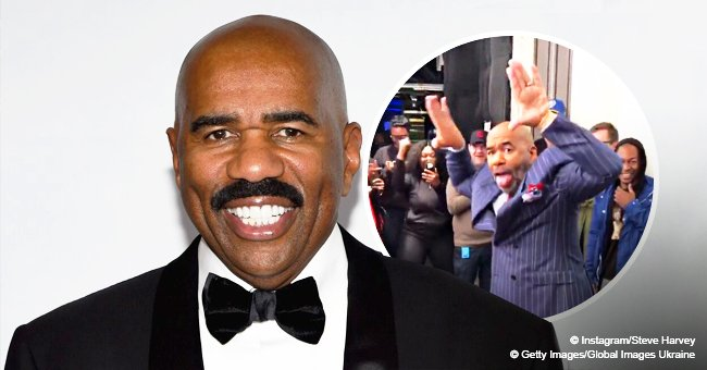 Steve Harvey shows off energetic dance moves as his colleagues wish him a happy birthday