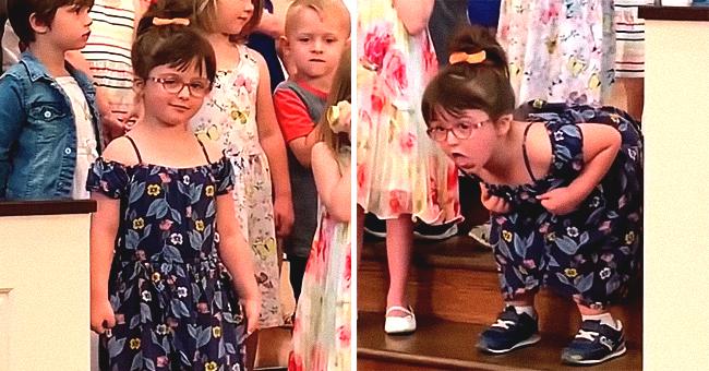 Cette fillette fait son spectacle amusant pendant celui du groupe de l'église