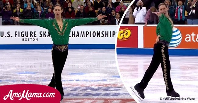 Olympic skater starts his performance. As soon as the music started, the audience was charmed