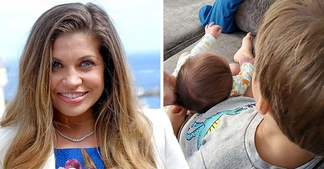 Danielle Fishel attends Catalina Film Festival's Annual Brunch at Blanny's 2014 on September 27, 2014 in Catalina Island, California, the next image shows her children on the couch   Photo: Getty Images and Instagram/@daniellefishel