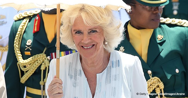 Duchess Camilla Rocks an Icy Blue Kaftan over Flowing Trousers While in Barbados