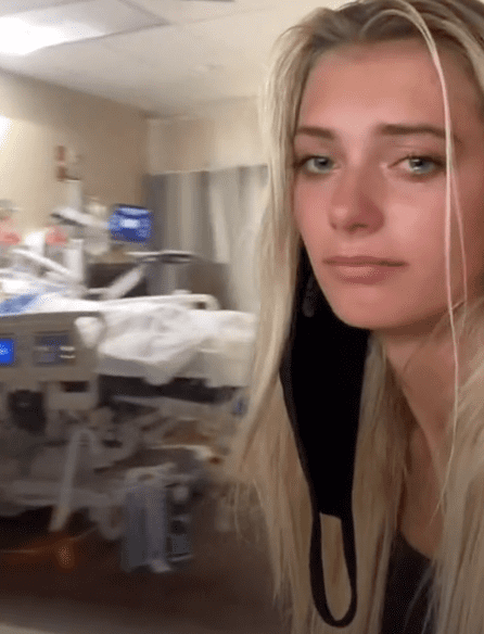 In a viral video, a woman with tears in her eyes pans the camera to show viewers her sickly father in the hospital   Photo: TikTok/nikki.neisler