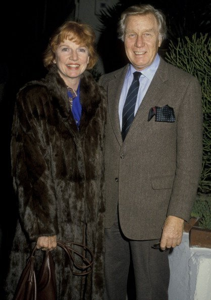 George Gaynes and Allyn Ann McLerie sighted on February 21, 1986 at Spago Restaurant | Photo: Getty Images