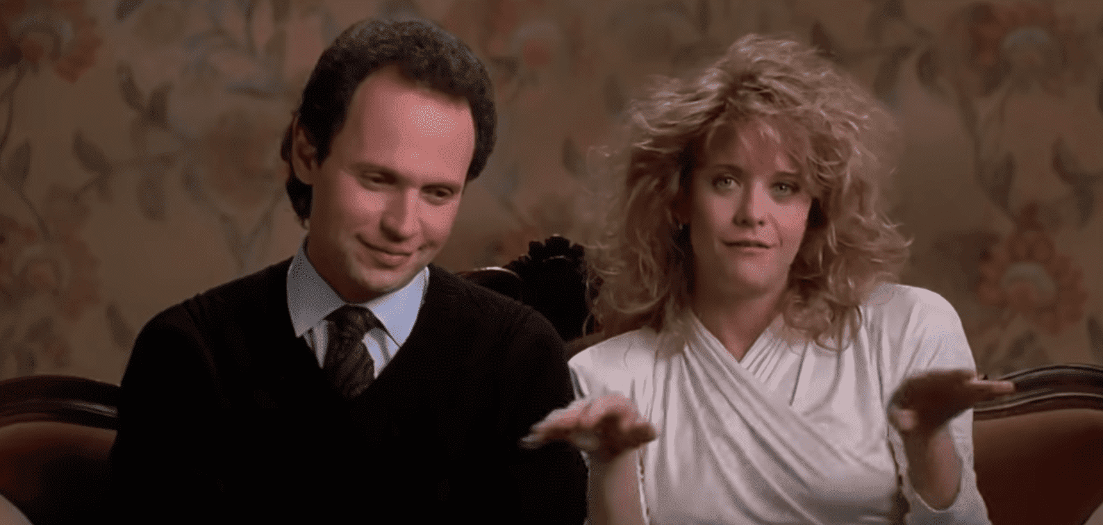 "Meg Ryan's Sally and Billy Crystal's Harry in the movie ""When Harry met Sally."" 