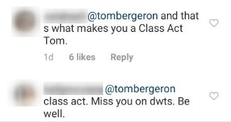 Photo of an Instagram comment on Tom Bergeron's post | Photo: Instagram / tombergeron