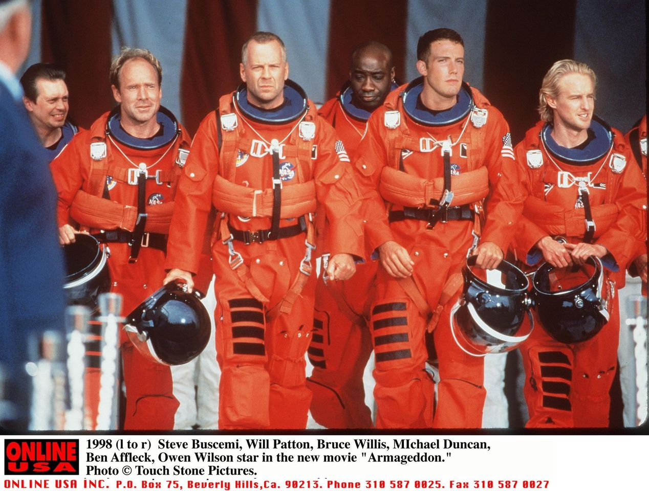 """(L To R) Steve Buscemi, Will Patton, Bruce Willis, Michael Duncan, Ben Affleck, And Owen Wilson Star In """"Armageddon."""" 
