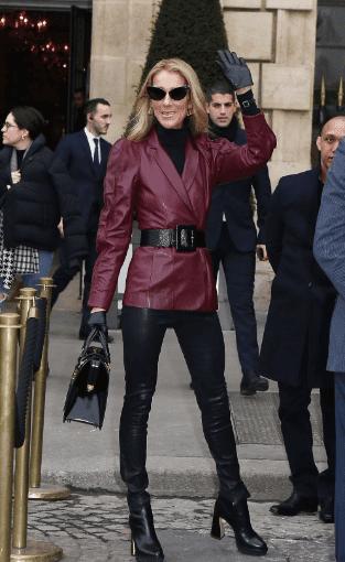 Céline Dion à la sortie de l'hôtel Ritz pour aller au défilé Givenchy, le 24 janvier 2019 | Youtube/Paris Popular