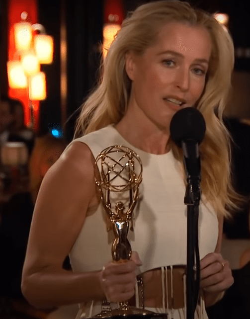 Actress Gillian Anderson pictured during her acceptance at the 73rd Emmy Awards, 2021, Los Angeles, California. | Photo: Youtube/Television Academy