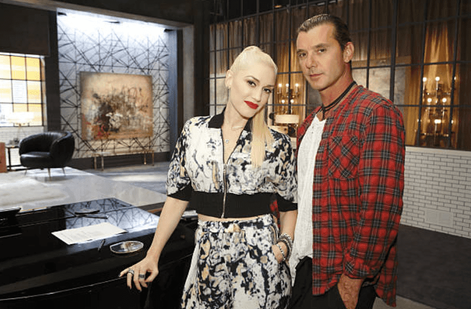 "Gwen Stefani and Gavin Rossdale pose for promotional pictures for ""The Voice"" season 7, on July 10, 2014 