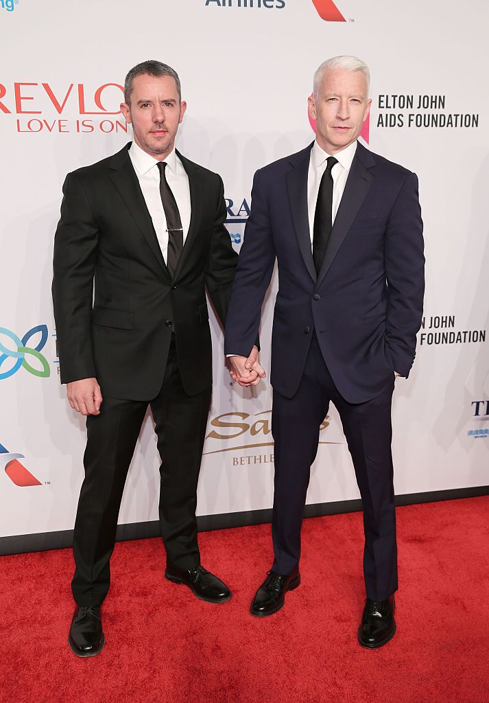 enjamin Maisani and Journalist Anderson Cooper at a function for Elton John AIDS Foundation | Getty Images