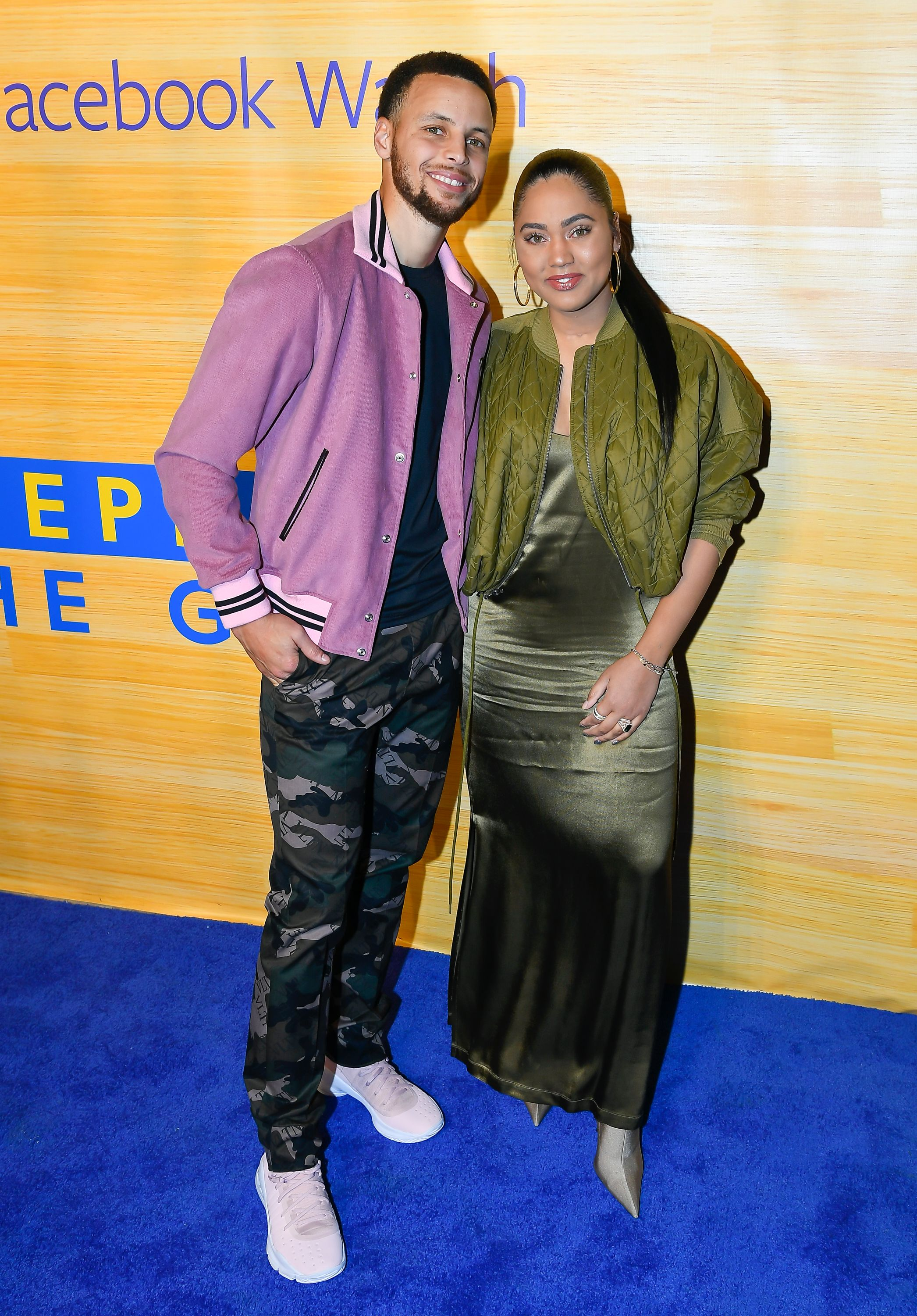 "Stephen and Ayesha Curry at the ""Stephen Vs The Game"" Facebook Watch Preview on April 1, 2019 in Oakland, California 