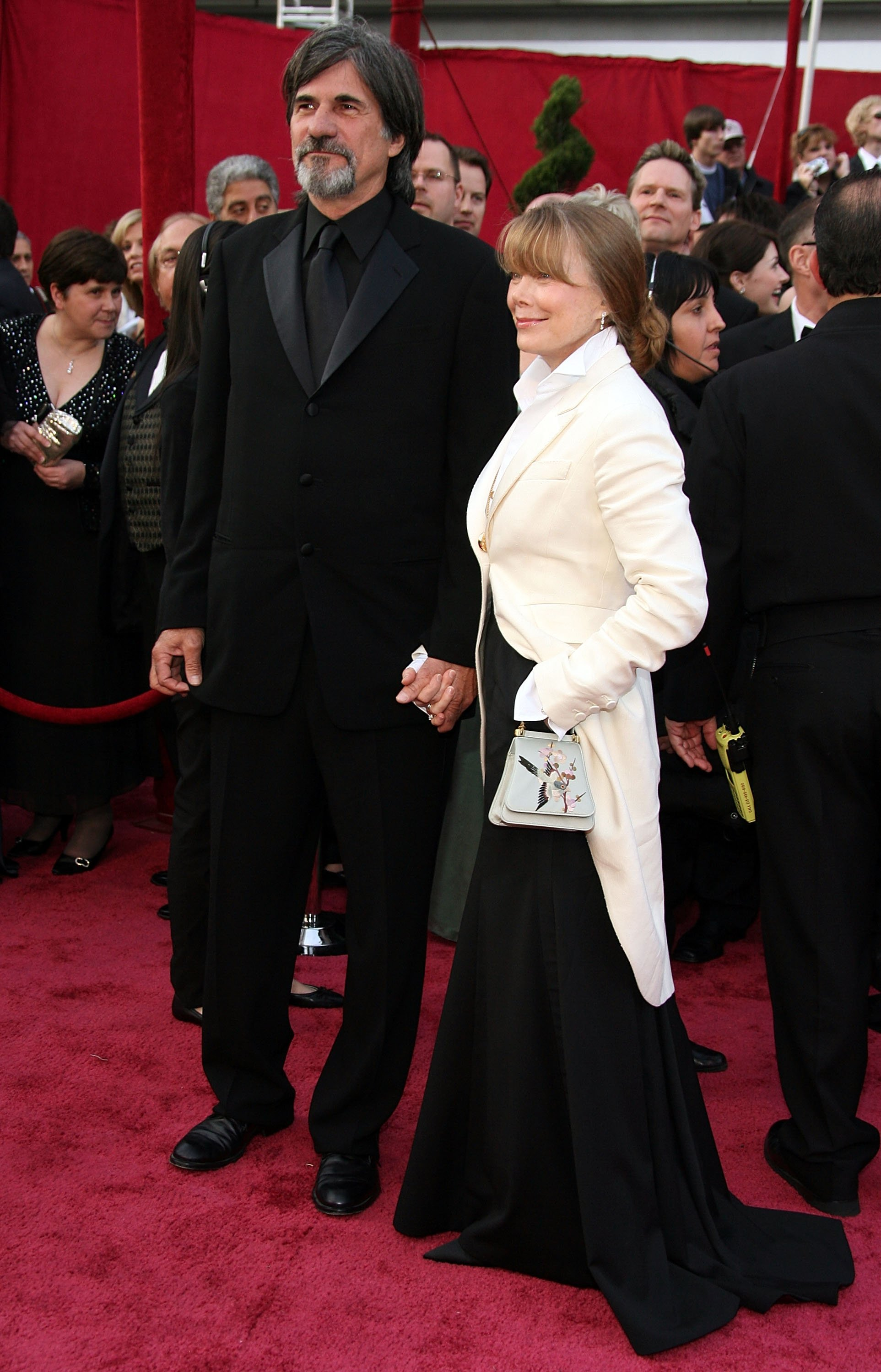 Jack Fisk and actress Sissy Spacek arrive at the 80th Annual Academy Awards held at the Kodak Theatre on February 24, 2008, in Hollywood, California. | Source: Getty Images.